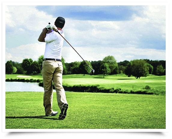 Golfer in sunshine